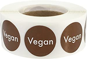 Vegan Food Rotation Labels .75 Inch Round Circle Dots 500 Adhesive Stickers
