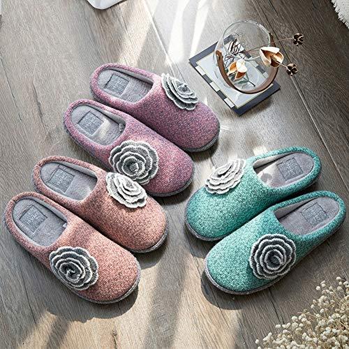 Antidérapant Broderie Chaussures Pantoufles Animé Simple Coton Orange Fleur Dessin Orange Belle 37 Maison Tricotée Yangyongli ZYPw1q5q