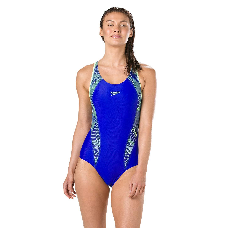 Speedo Womens Printed Fit Laneback Swimsuit