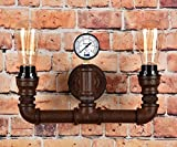 Vintage Steampunk Pipe Wall Light 2 Lamps Design Water Gauge Rustic