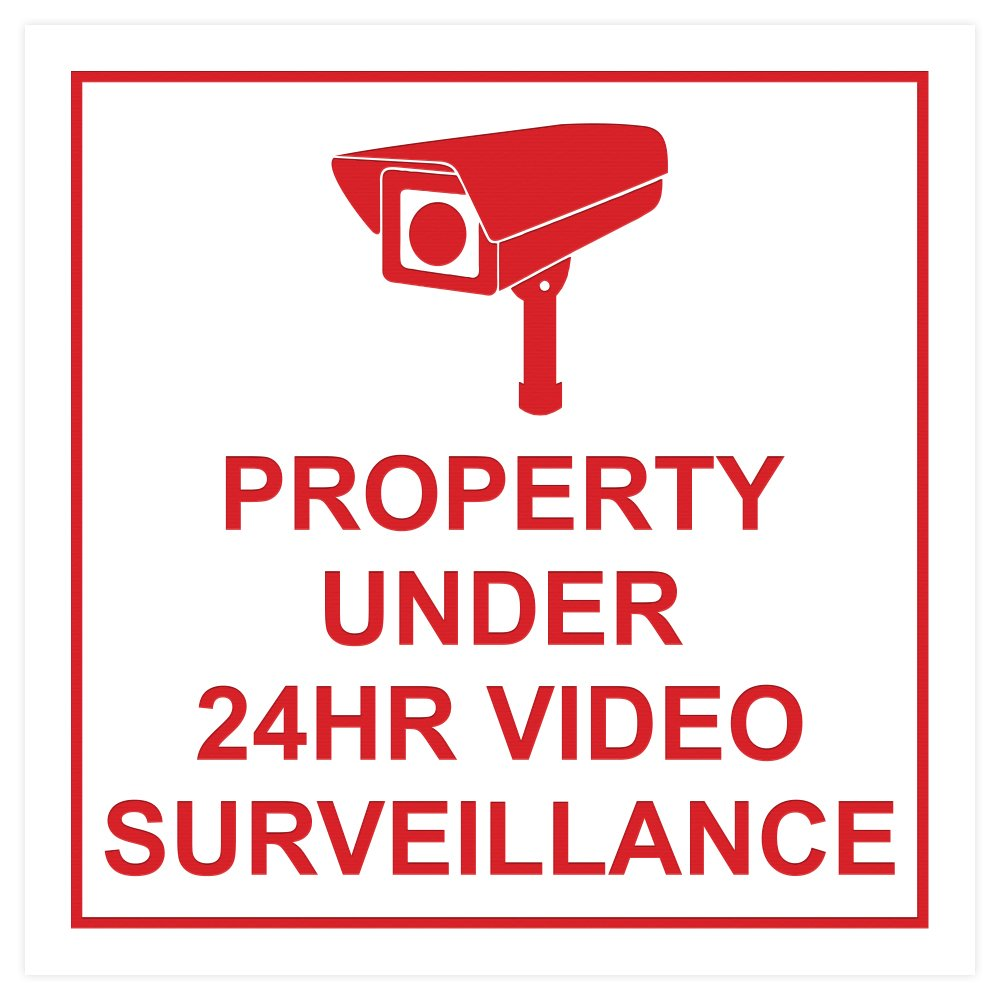 All Quality Square Property Under 24HR Video Surveillance Wall//Door Sign Brushed Gold Small