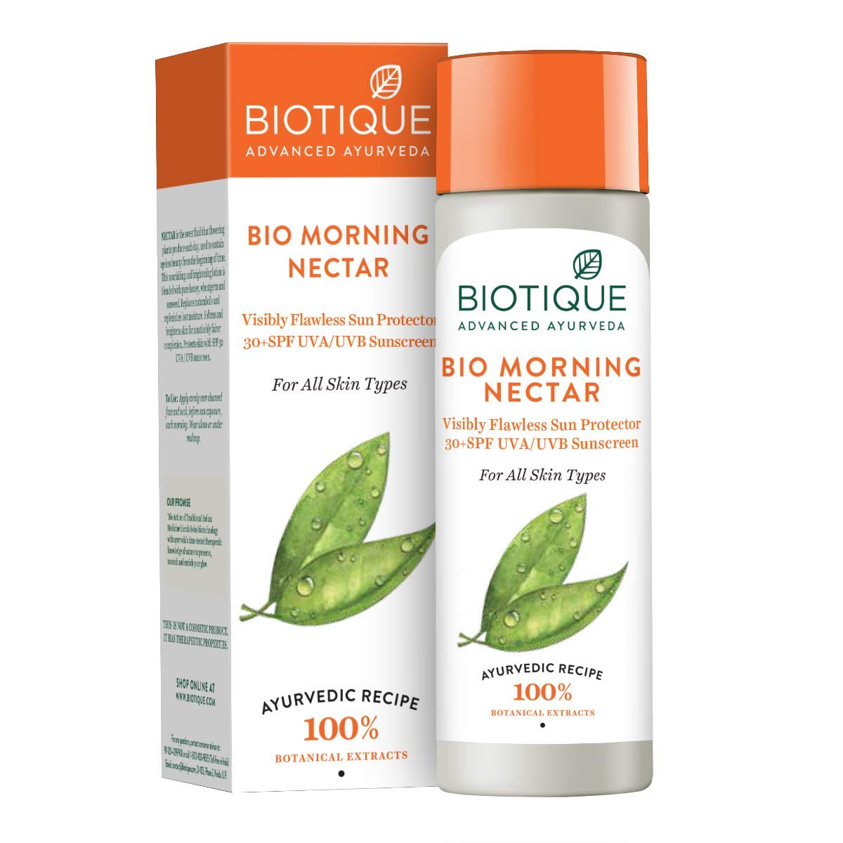 Biotique Morning Nectar 30+ Spf Uva/Uvb Sunscreen Ultra Soothing Face Lotion 120Ml/4.06Fl.Oz.