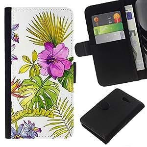 All Phone Most Case / Oferta Especial Cáscara Funda de cuero Monedero Cubierta de proteccion Caso / Wallet Case for Sony Xperia M2 // Wallpaper Watercolor Fern Spring