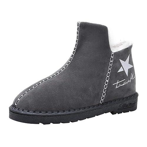 OHQ Botines De Invierno Nieve Cinco Estrellas Boots Calentador Plataforma Plana Mujeres Plus Zapatos: Amazon.es: Zapatos y complementos