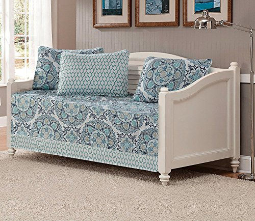 Mk Collection 5pc Day Bed Quilted Bedspread Set Floral Light Blue White Gray Navy Blue New