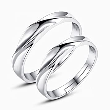 Amazon Com Couple Ring Creative Opening Water Wave Twisted Wedding