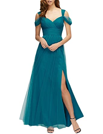 JoyVany Women Tulle Bridesmaids Long Prom Dresses 2018 Formal Gown JV794 at Amazon Womens Clothing store: