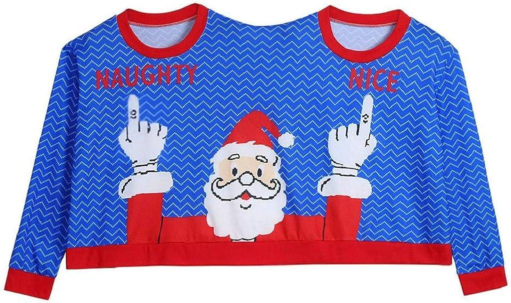 SHOBDW Mujer Hombres Suéter de Dos Personas Unisex Parejas Pullover Novedad Feliz Navidad Regalo Papá Noel Imprimir Blusa Invierno de Manga Larga Top Camisa: Amazon.es: Ropa y accesorios