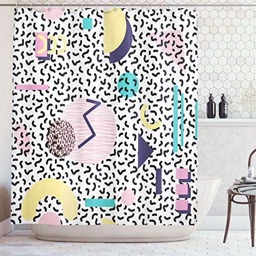 - Ambesonne 90s Shower Curtain, Geometric Pattern in Retro Style with Round Half Moon Triangle Shapes Artwork, Fabric Bathroom Decor Set with Hooks, 70 Inches, Navy Yellow