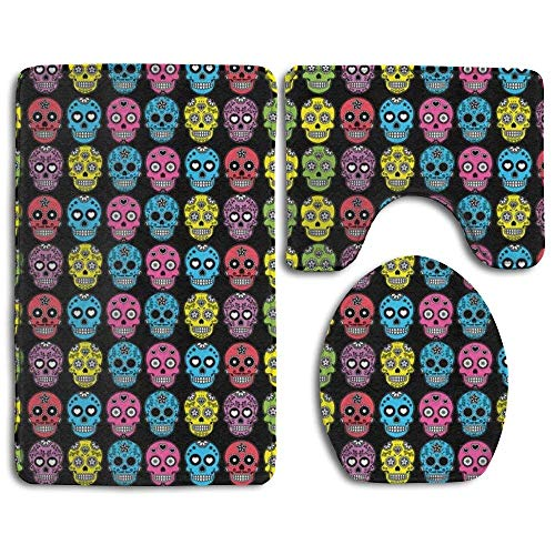 CCBUTBA Skidproof Toilet Seat U Shape Cover Bath Mat Lid Cover 3 Piece Non Slip Bath Rug Mats Sets for Shower SPA Halloween Mexican Sugar Skull