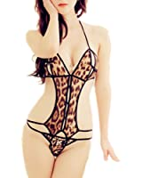 Samgu-Lingerie sexy de sous-vêtements léopard sexy siamois fichiers ouverts