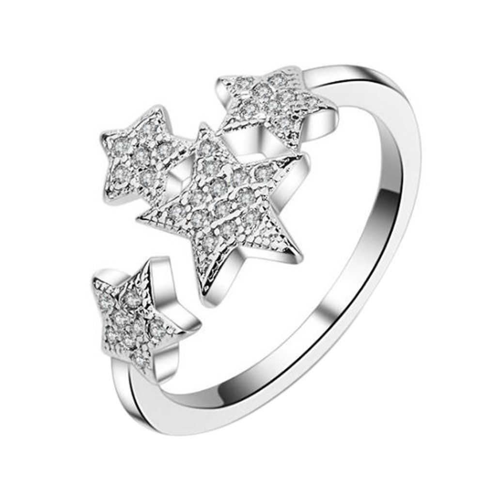 Hosaire Elegant Star Diamond Ring Crystal Open Rings Wedding Party Jewelry For Women Girls-It Can Be adjustable