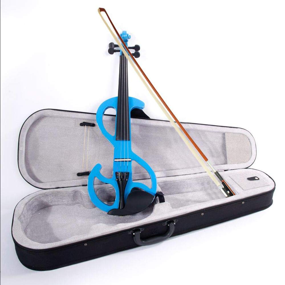 Blue 8 Pattern Electroacoustic Violin - Full Size +Case + Bow + Rosin
