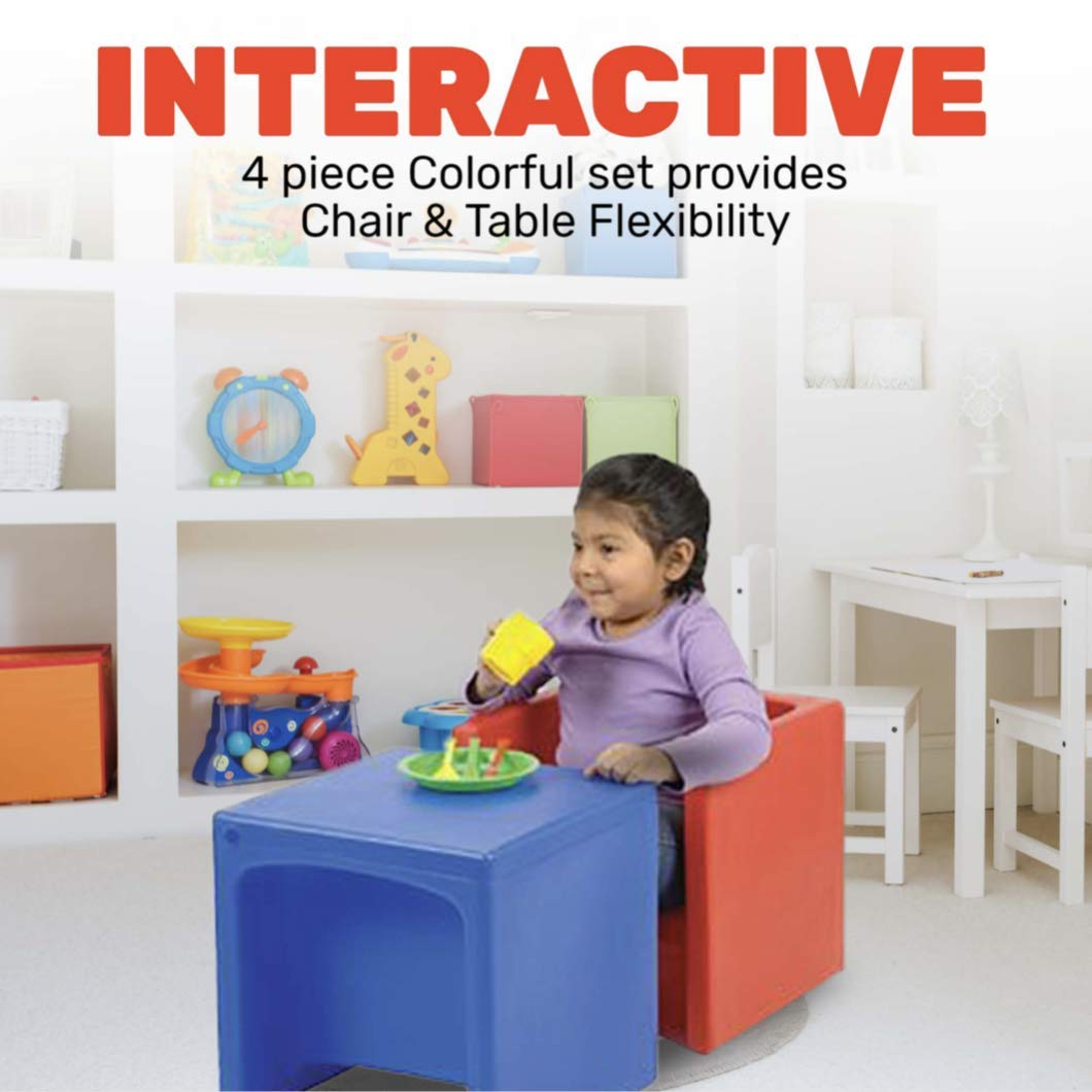 Constructive Playthings Cube Chairs, Set of 4 with Two Different Seat Heights or Flip to Use as a Table for Ages 9 Month and Up by Constructive Playthings