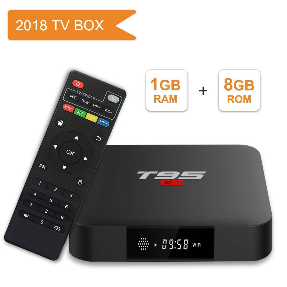 Android TV Box, T95 S1 Smart Box with 1GB RAM 8GB ROM Android 7.1 Amlogic S905W Quad core cortex-A53 Processor HDMI 2.0 H.265 2.4GHz WIFI 100M Ethernet YingFu