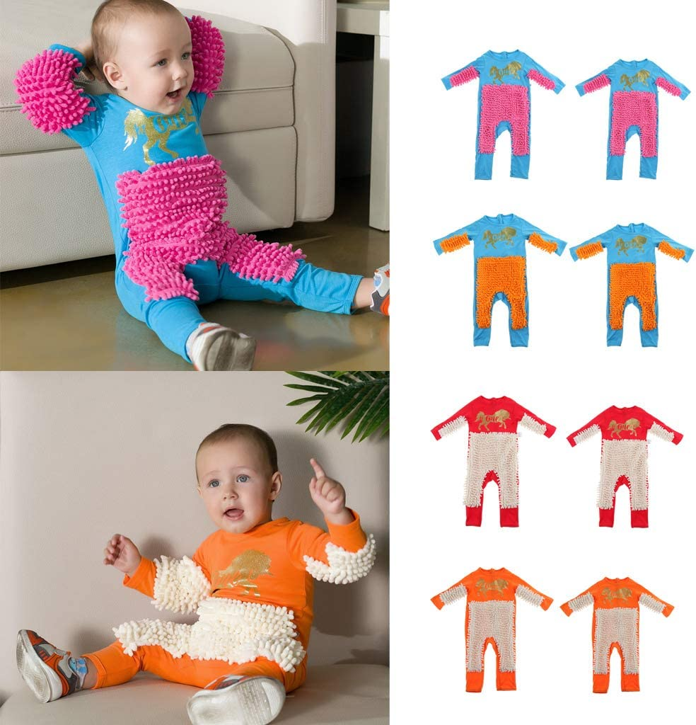 Baby Mop Romper Outfit Unisex Boy Girl Polishes Floors Cleaning Mop Suit Autumn Winter Kids Crawling Toddler Swob Jumpsuit Blue+Orange 80cm as described