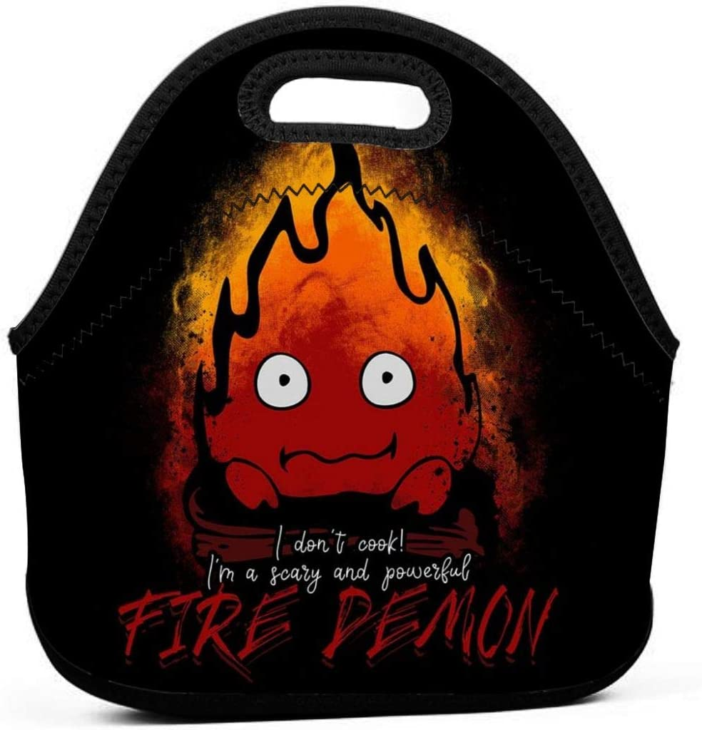Fire Demon Calcifer Howls Moving Castle Reusable Lunch Tote Bag Waterproof Picnic Lunch Box For School Road Walking And Office- Waterproof/Warm/Cooler