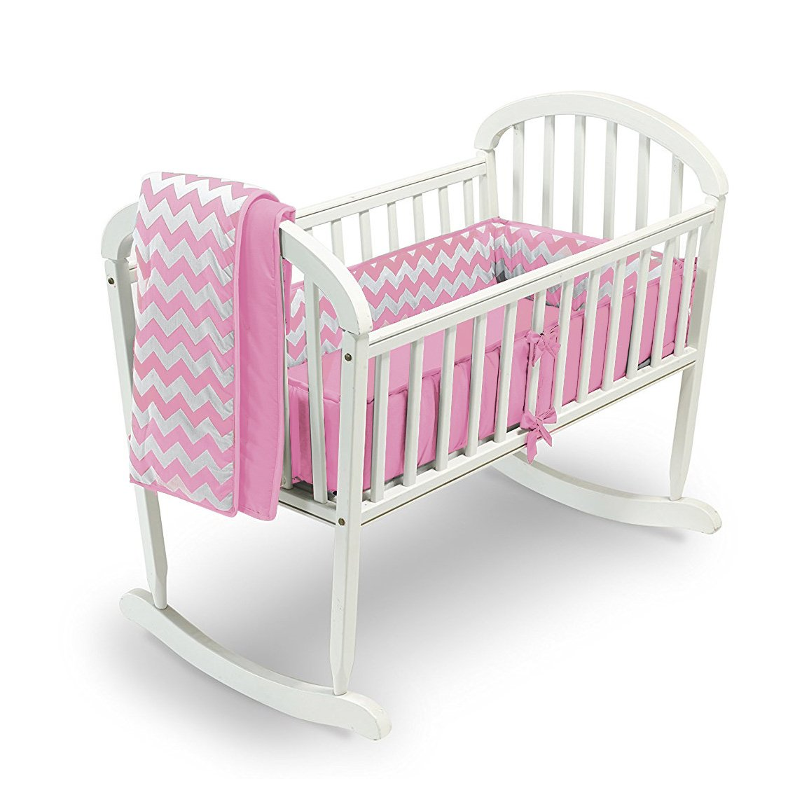Chevron Cradle Bedding Color Pink Size 15x33 Baby Doll