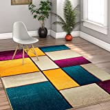 Beverly Squares Yellow Blue Orange Purple Fuchsia Modern Geometric Hand Carved 8x10 (7'10'' x 9'10'' ) Area Rug Easy to Clean Stain & Fade Resistant Thick Soft Plush