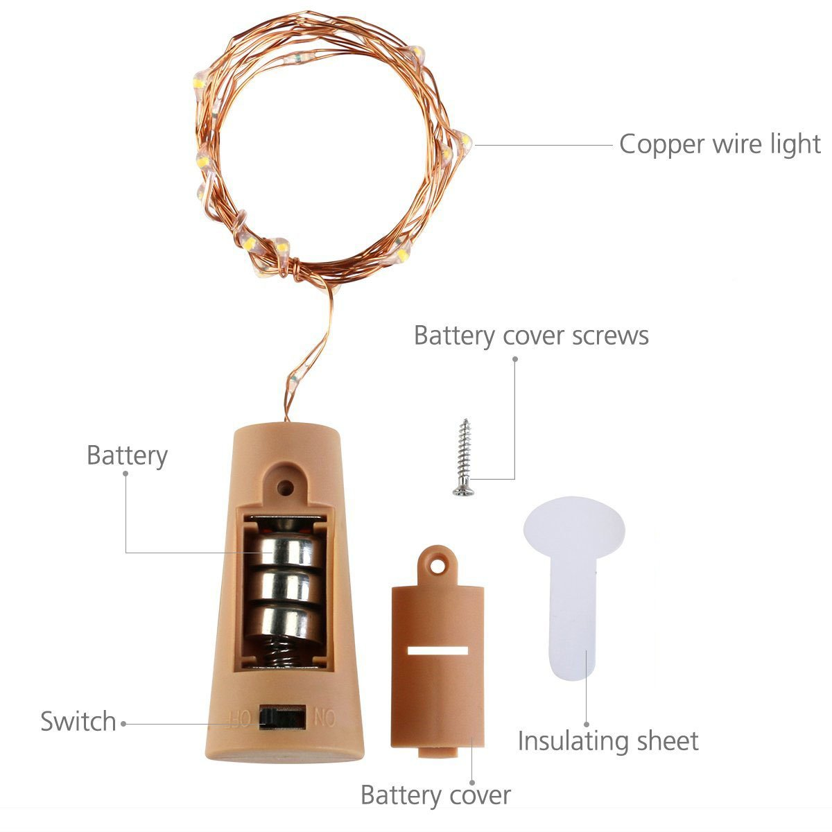 LoveNite Wine Bottle Lights with Cork, Warm White 10 Pack Battery Operated LED Cork Shape Silver Copper Wire Colorful Fairy Mini String Lights for DIY, Party, Decor, Christmas, Halloween,Wedding by LoveNite (Image #3)