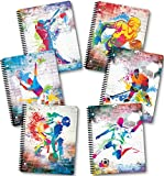 New Generation - Sport Graffiti - 1 Subject 70 Sheets 8'' x 10.5'' wirebound Spiral Notebook, 6 PACK,WIDE Ruled - SEE THE MAGIC (6 PACK SPIRAL NOTEBOOK WIDE RULED)