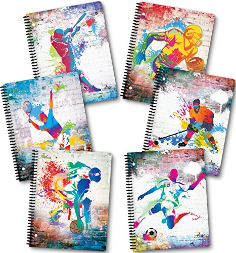 NEW GENERATION - Sport - Fashion Wire Bound Spiral Notebooks, Wide Ruled 1 Subject 70 Sheets, 8 x 10.5 inches, 3 Hole Punch Perforated Sheets - 6 Pack set Great for School, Home,