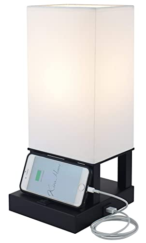 Kira Home Lucerna II 14 Modern Bedside USB Table Lamp w 2.0 AMP Charging Port, Integrated Phone Stand, White Fabric Shade 7W LED Bulb Energy Efficient, 3000K Warm White , Matte Black Finish