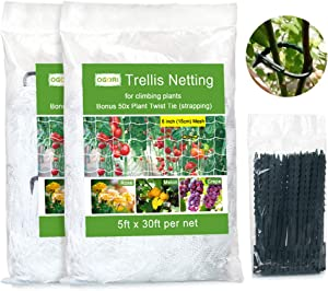 OGORI 5 x 30ft Heavy-Duty Plant Trellis Netting 2 Pack, Tangle-Free Trellis for Climbing Plants