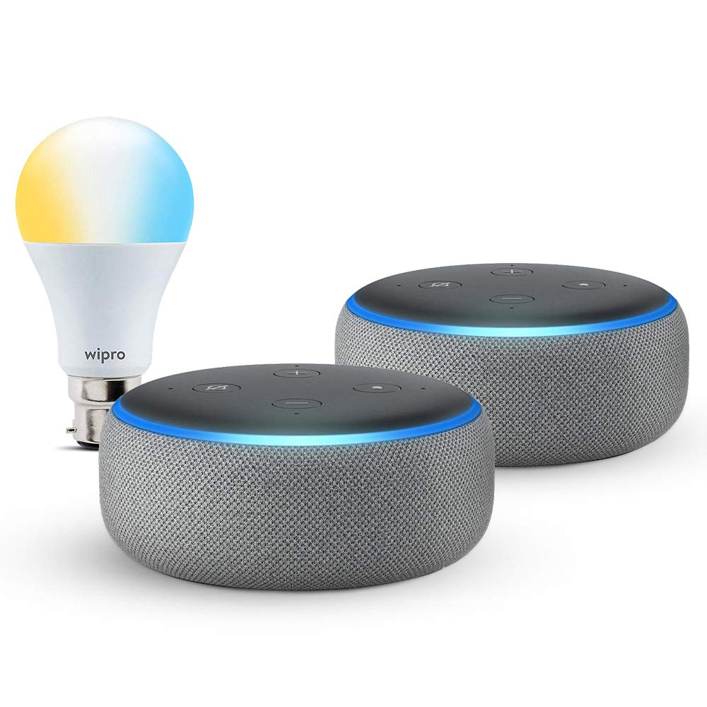 [Apply coupon] Echo Dot gift twin pack (Grey) with Wipro smart white bulb