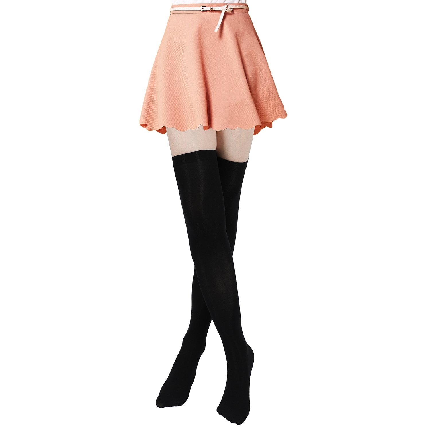 Women's Thigh High Stockings Socks of Solid Color Opaque Sexy,Over the Knee High Leg Socks 5-Pairs(Black) by VANGAY (Image #5)