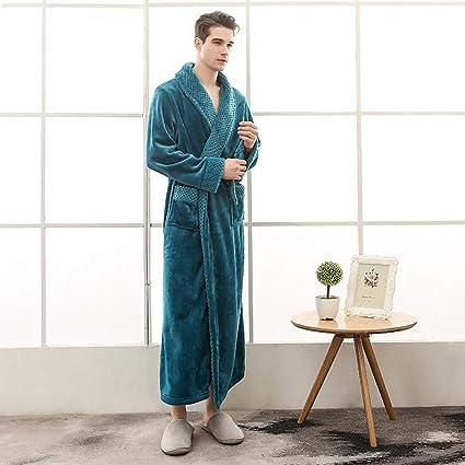 Men Plush Warm Bathrobe Microfiber Cotton Kimono Long Robe Bath Spa ... 9fd2f0683