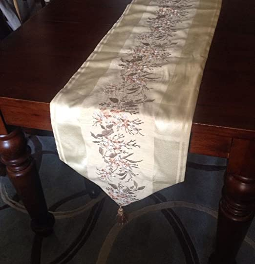 Christmas Tablescape Decor - Exquisite American Embroidered Champagne Table Runner