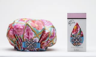 product image for Dry Divas Designer Shower Cap For Women - Washable, Reusable - Large Bouffant Cap With Vintage Jeweled Brooch (English Garden)
