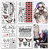 Leoars Large Temporary Tattoos Full Body Bundle Suicide Squad Harley Quinn Joker Cosplay Temporary Tattoo Sticker Halloween Props Costume Cosplay Party Accessories for Men Women Kids, 4-Sheet