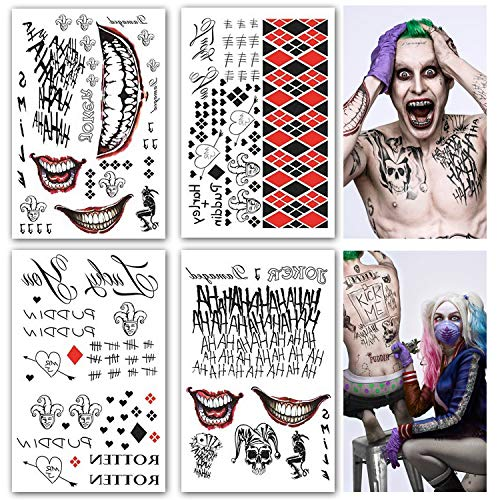 Leoars 4 Sheets Large Temporary Tattoos Full Body Bundle Suicide Squad Harley Quinn Joker Cosplay Temporary Tattoo Sticker Costume Cosplay Party Accessories (Suicide Squad Best Makeup)