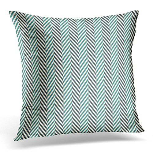 Braid Herringbone - Emvency Throw Pillow Covers White Braids Herringbone Abstract Blue Colors Pattern with Chevron Diagonal Lines Classic Geometric Decorative Pillow Case Home Decor Square 20