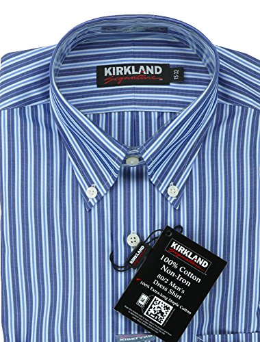 Button Down Stain Resistant Dress Shirt (Kirkland Signature. Mens Traditional Fit Button Collar Dress Shirt (16 1/2 x 32, Dark Blue Stripe))