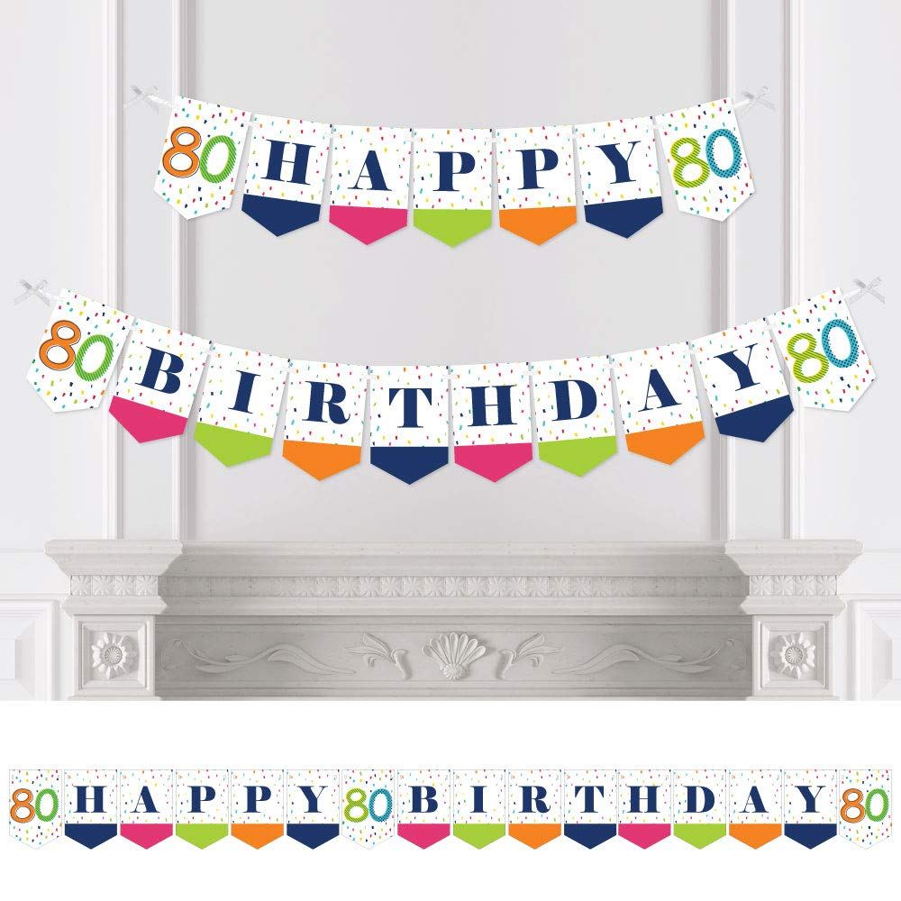 Big Dot of Happiness 80th Birthday - Cheerful Happy Birthday - Colorful Eightieth Birthday Party Bunting Banner - Birthday Party Decorations - Happy Birthday