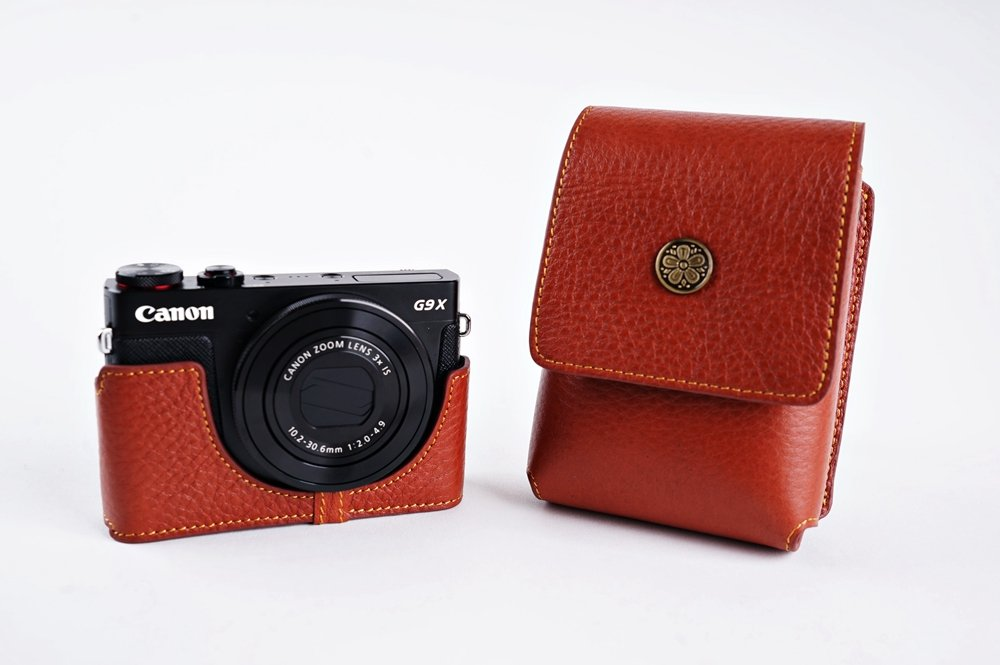 Handmade Genuine real Leather Full Camera Case bag cover for Canon PowerShot G9 X G9x Bottom opening Version with TP-15 Neck strap - Brown