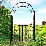 OUTOUR Elegant Garden Arch with Gate, Garden