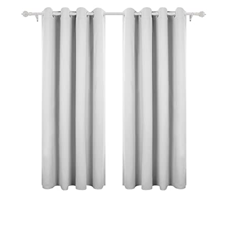 Deconovo Super Soft Thermal Insulated Eyelet Curtains Hand Made Blackout For Livingroom With Two Matching