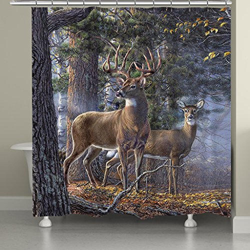 Cheap Laural Home Deer Time Shower Curtain, Multi for cheap