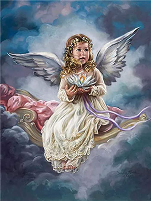 """Winged Angel Girl DIY Paint By Number Kit Oil Painting Paint On Canvas 16X20/"""""""