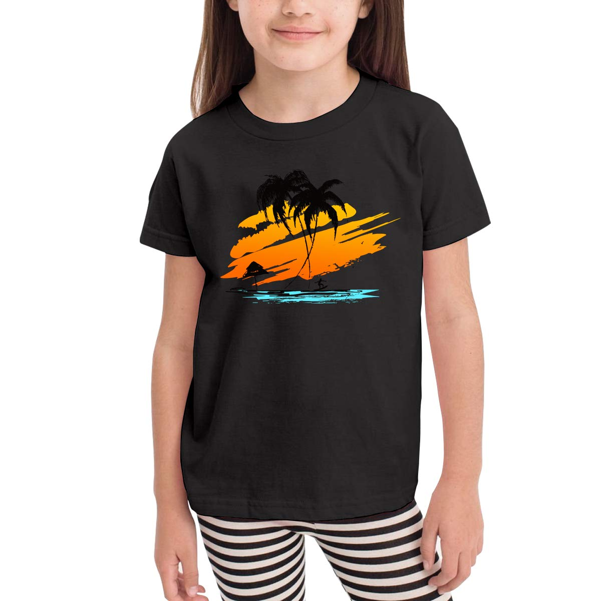 Baby Girls Kids Silhouette of Palm and Surfer Cotton Short Sleeve T-Shirt Size 2-6