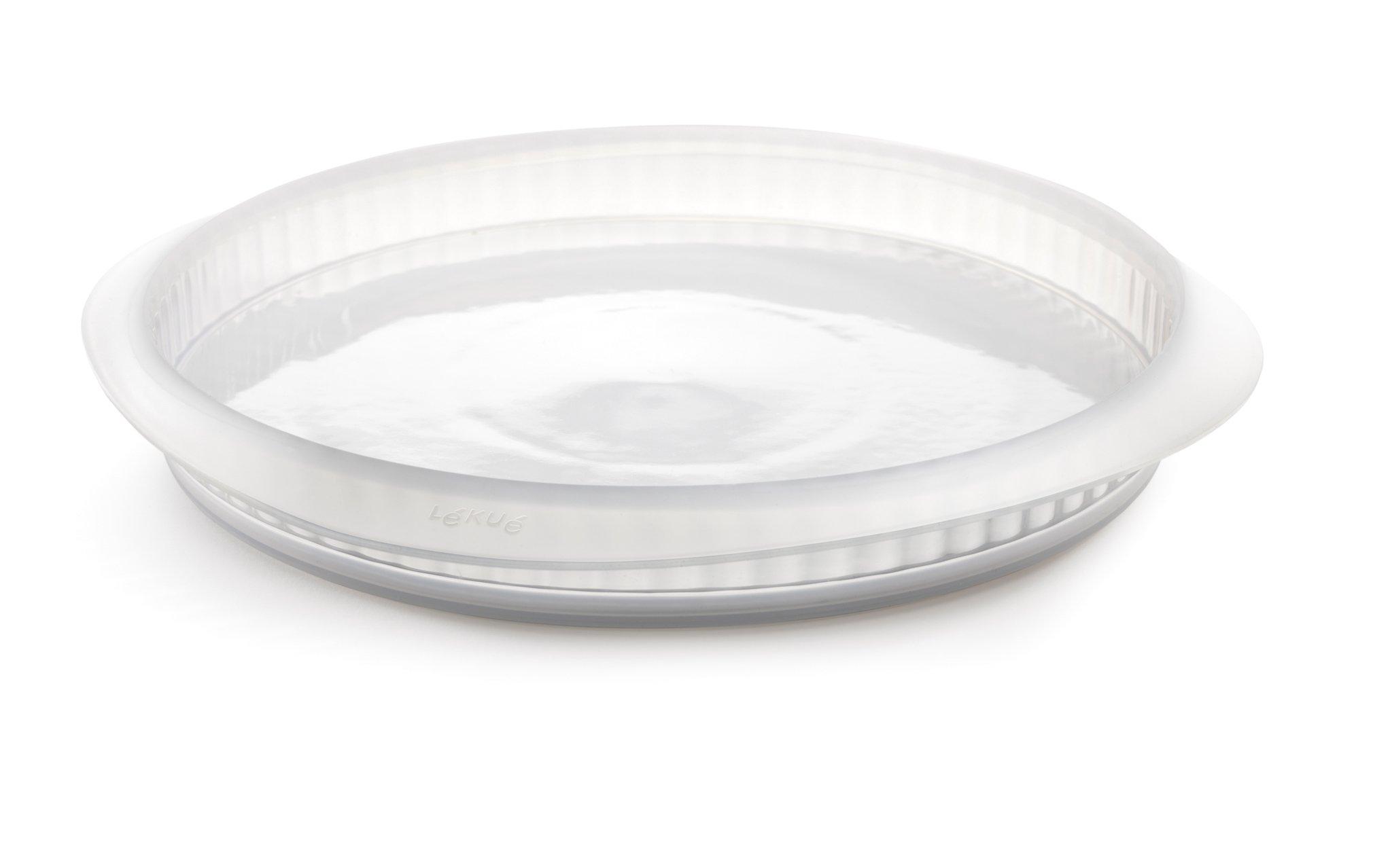 Lékué Duo - Molde para quiche, 28 cm y plato cerámica, color blanco translucido