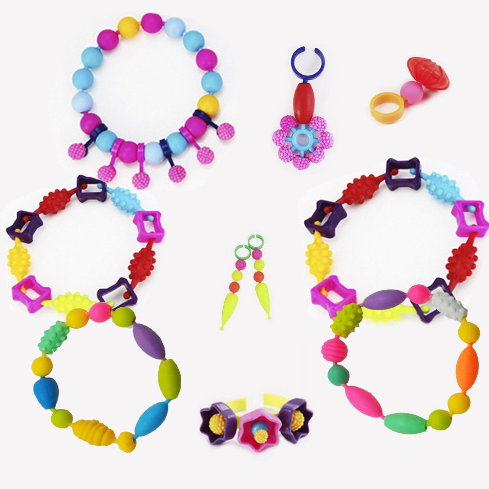 Gorse Pop Beads Set 530 PCS for Kids Toddlers Head wear Necklace Earrings Bracelets and Anklets Ideal Gift Idea for Christmas & Birthday by Gorse (Image #6)