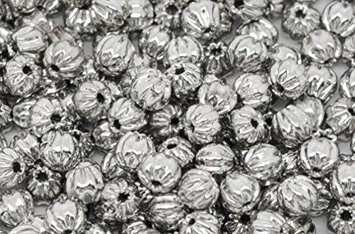 (Souarts Silver Tone Color Pumpkin Shape Spacer Beads Pack of 300pcs)