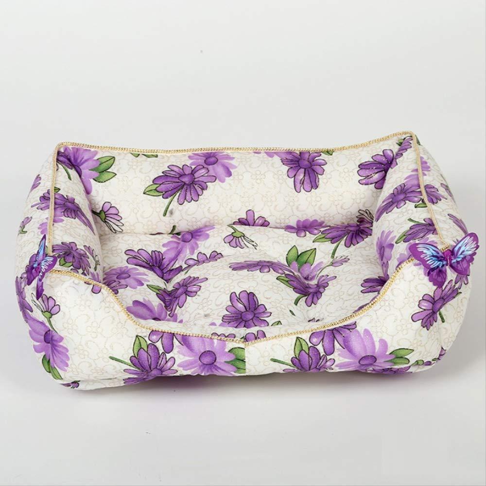 TTQIAOHUA Pet Mat Four Seasons Universal Removable Washable Kennel Cat Litter 52X40Cm Purple Flower
