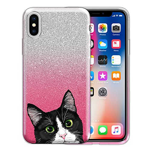 FINCIBO Case Compatible with Apple iPhone X 5.8 inch, Shiny Sparkling Silver Pink Gradient 2 Tone Glitter TPU Protector Cover Case For iPhone X - Black White Tuxedo Cat ()