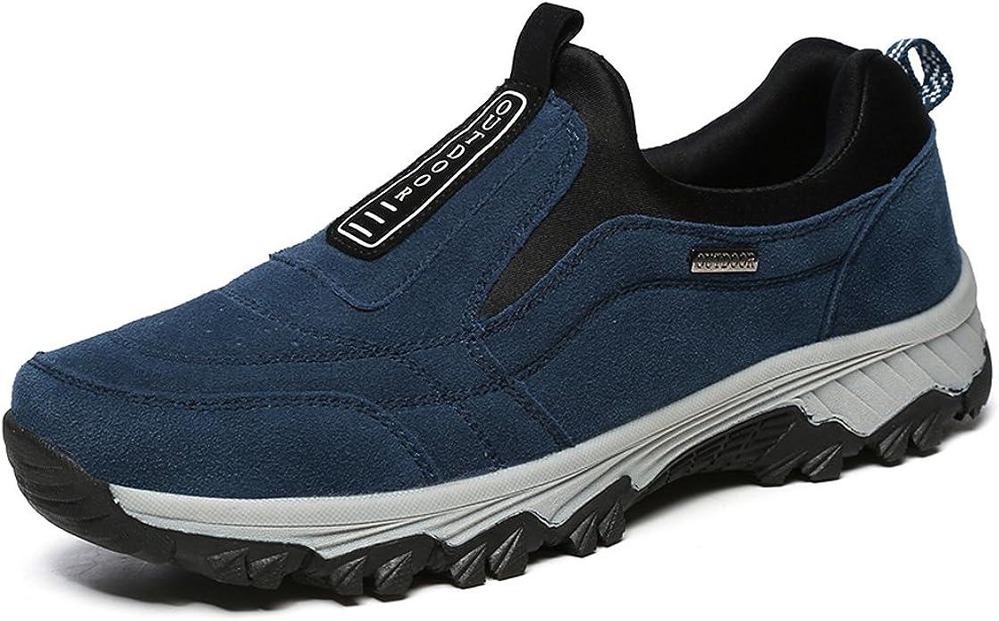 VILOCY Zapatillas de senderismo para hombre de piel de ante para ...